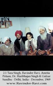 2.1 Tara Singh, Ravinder Ravi, Amrita Pritam, Dr. Haribhajan Singh & Gulzar Sandhu - Delhi, India - December, 1969