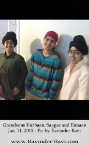 3. Grandsons Kurbaan, Saagar and Eimaan - Jan. 11, 2015 - Pic by Ravinder Ravi