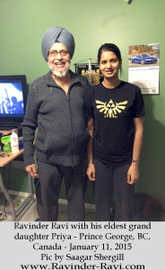 5. Ravinder Ravi with his eldest grand daughter Priya - Prince George, BC, Canada - January 11, 2015 - Pic by Saagar Shergill